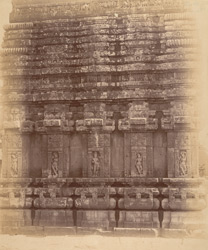 Close view of base of (?)western façade of the sanctuary of the Vaital Deul Temple, Bhubaneshwar